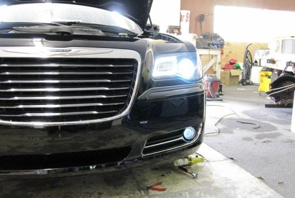 Closeup of the HID headlight, and LED fog installed.